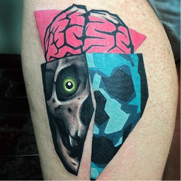 Epic Abstract Cubism Tattoos By Mike Boyd