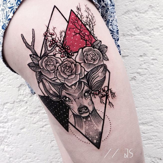 Striking And Bold Geometric Tattoos By Jessica Svartvit
