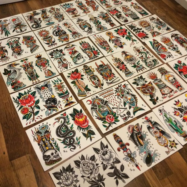 Sam Ricketts Works On Epic Tattoo Flash Project For Upcoming Book