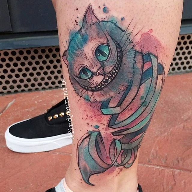 17 Mad And Mischievous Cheshire Cats Tattoos