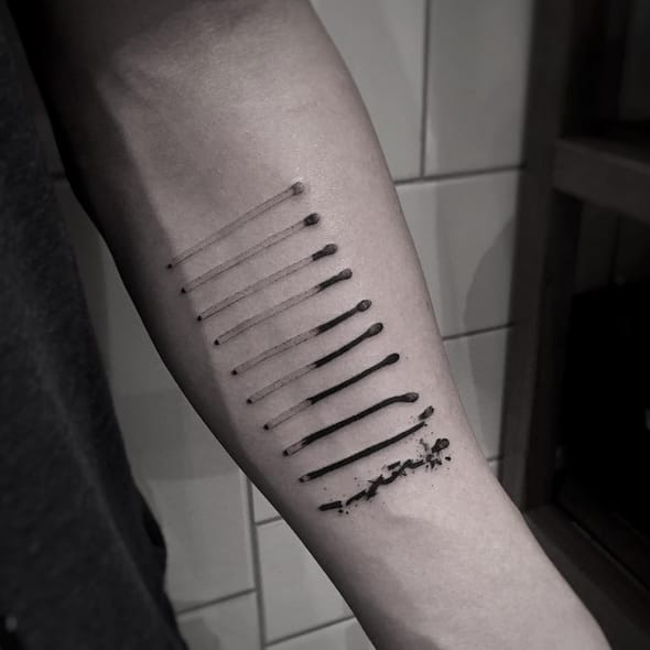 Light A Fire With These Edgy Matchstick Tattoos