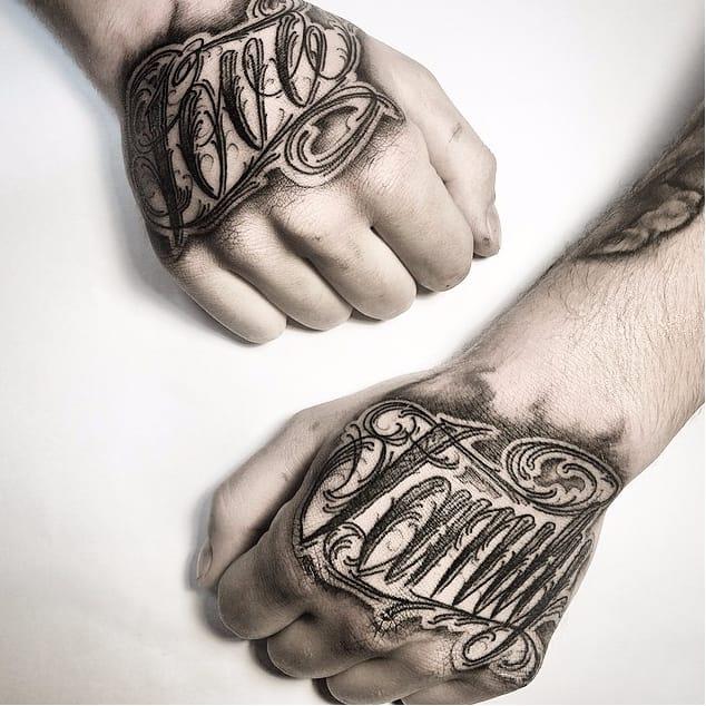 Elaborate Lettering Tattoos by Stanislav Gromov