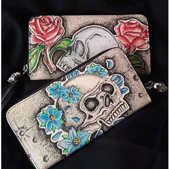 Wallets with skull design via Instagram @prison.art #prisonart #fashion #tattoofashion #wallet #skull