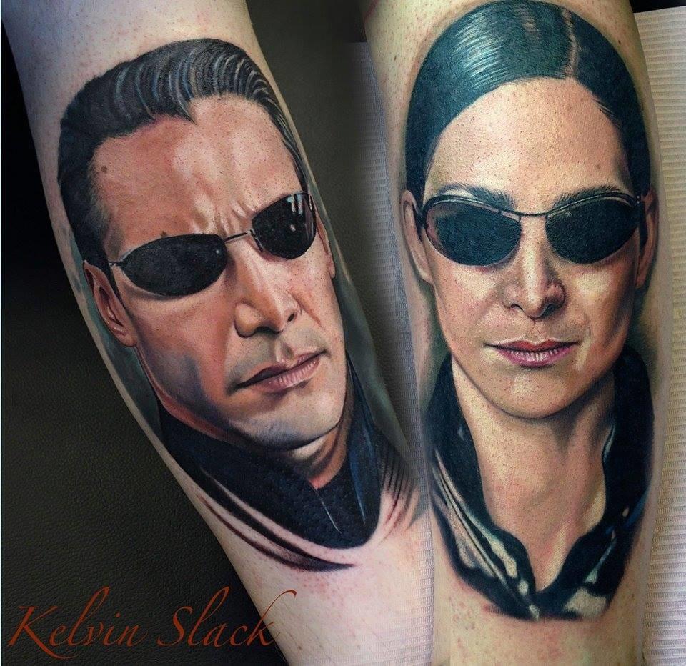 Badass Matrix tattoos by Kelvin Slack.