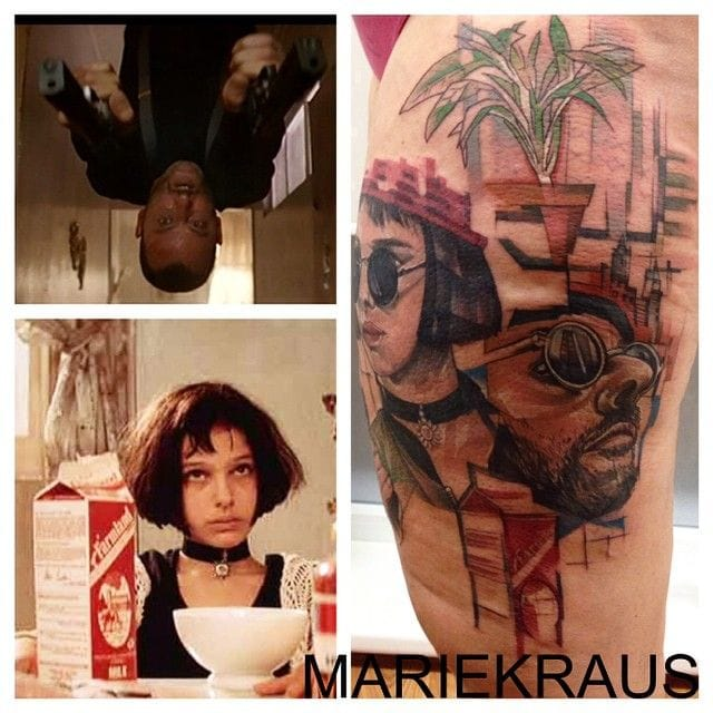 Great graphic Leon tattoo by Marie Kraus