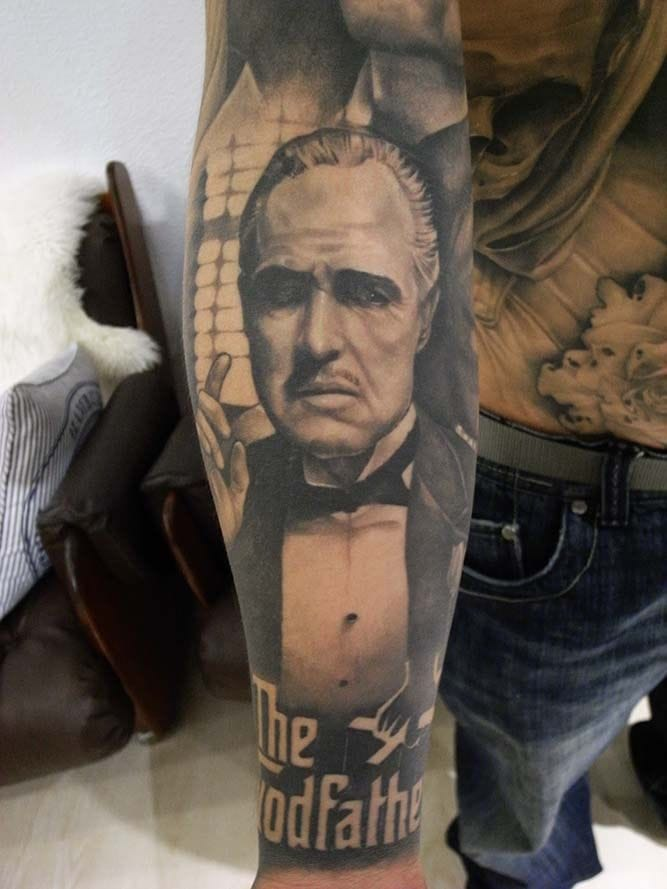 """""""A man who doesn't spend time with his family can never be a real man. """" Godfather tattoo by Sart."""