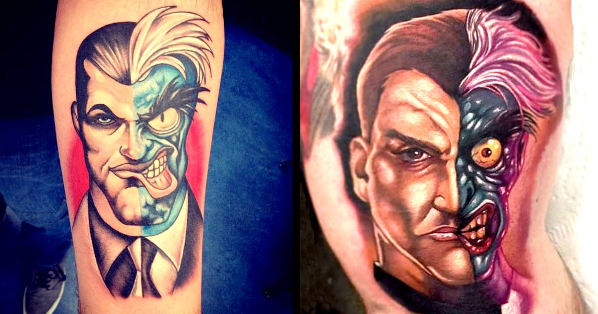 Batman two face tattoo for Two faced tattoo