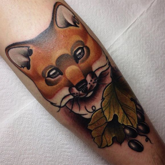 Nature inspired neo-traditional fox tattoo #AnastasiaSlutskaya #neotraditional #fox #nature #finelines