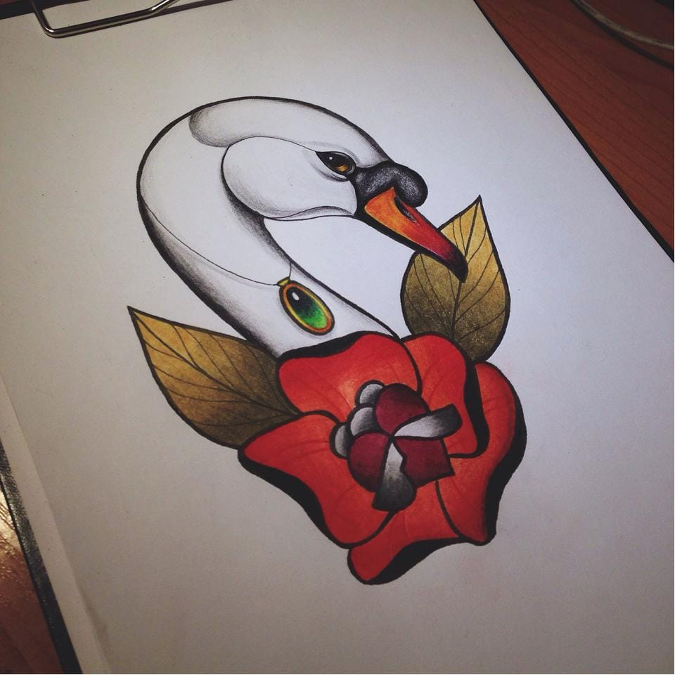 Drawing of a beautiful tattoo design #drawing #swan #tattoodesign #colorful #bright #detailed