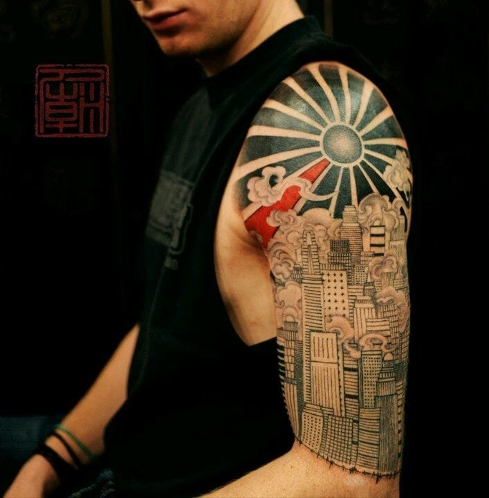 Love the different influences on this artwork by Joey Pang of Tattoo Temple, HK.