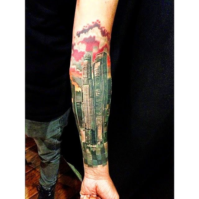 Graphic mix of realistic LA skyline and geometry by Rafa Barragan.