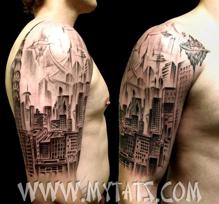 35 impressive architecture tattoos tattoodo. Black Bedroom Furniture Sets. Home Design Ideas