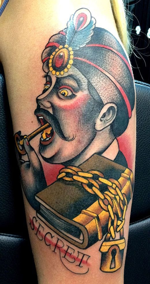 A gorgeous moustache is a secret a man wouldn't reveal! Tattoo by Valerie Vargas.