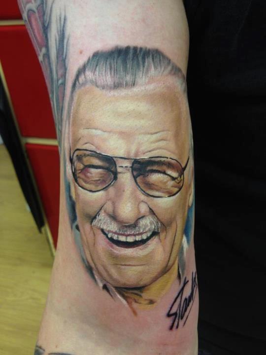 Comics mogul Stan Lee sports a white moustache with style! Tattoo by Matt Barratt-Jones.