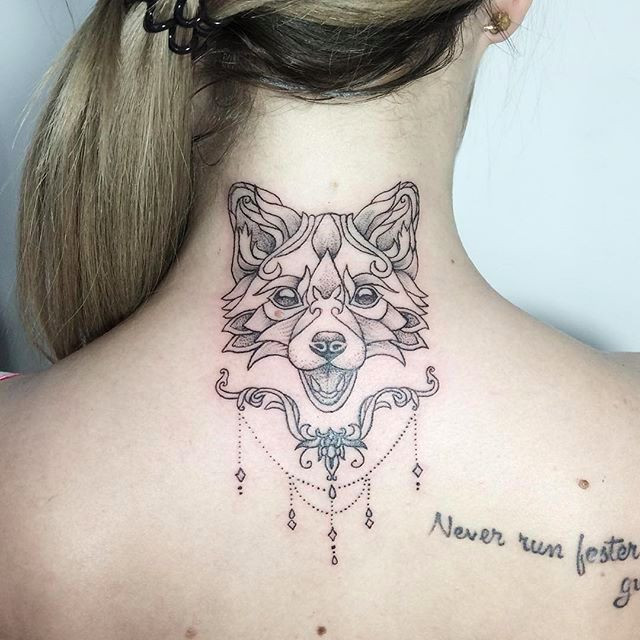 Fox tattoo #IraShmarinova #dotwork #linework #fox #blackwork #portrait