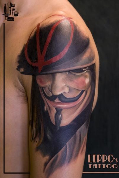 Of course, we can't avoid the iconic moustache of V for Vendetta, aka the Anonymous mask. Here by Lippo.