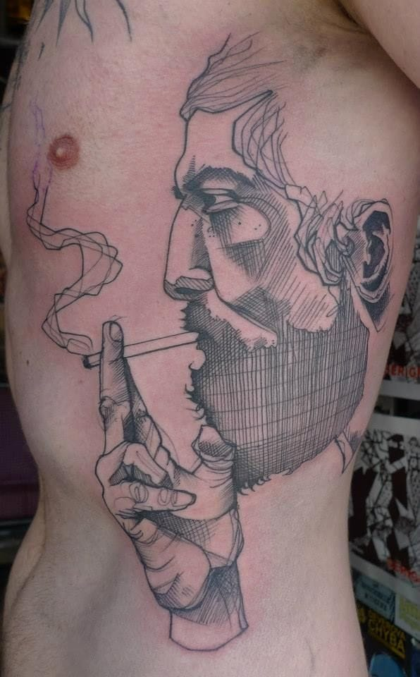 The sketch-style of Léa Nahon, with a great bearded smoker