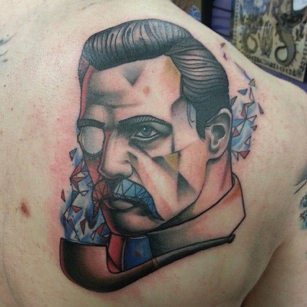 Geometric stache, tattoo by Josh Peacock