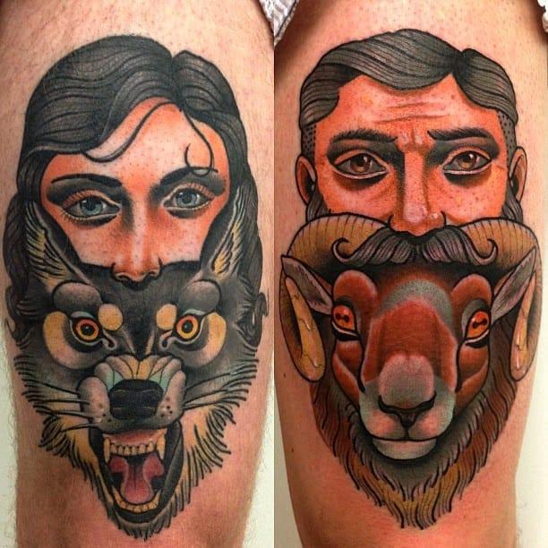 moustache tattoo, a wild animal, tattoo By Alex Dörfler