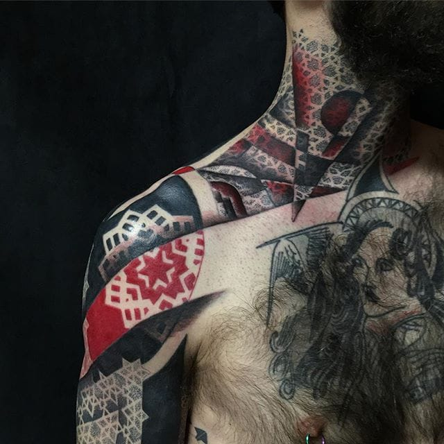 Sensational Red And Black Geometric Tattoos By Cory Ferguson