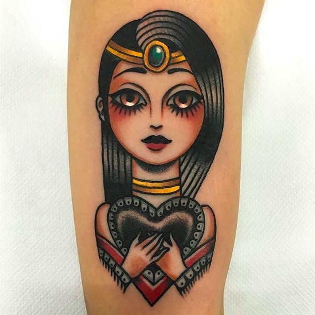 Bright And Beautiful Doll-Eyed Girl Tattoos By Giuseppe Messina