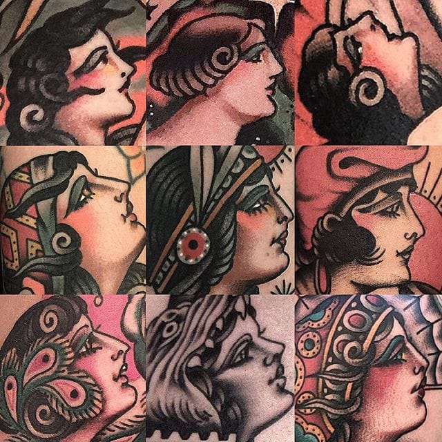 Gorgeous Traditional Girl Tattoos by Rafa Decraneo