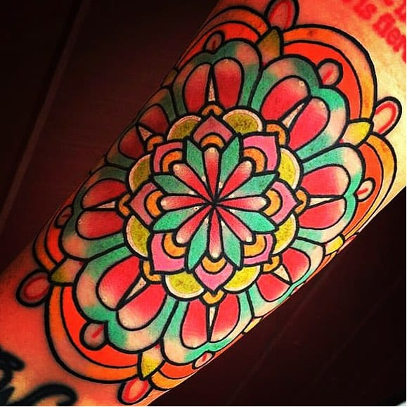 15 Super Bright and Colorful Flower Mandala Tattoos