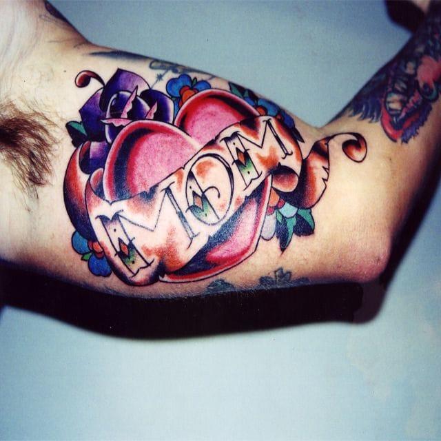 mom tattoo, half sleeve tattoo, heart tattoo