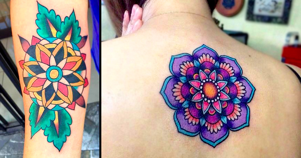 15 super bright and colorful flower mandala tattoos tattoodo. Black Bedroom Furniture Sets. Home Design Ideas