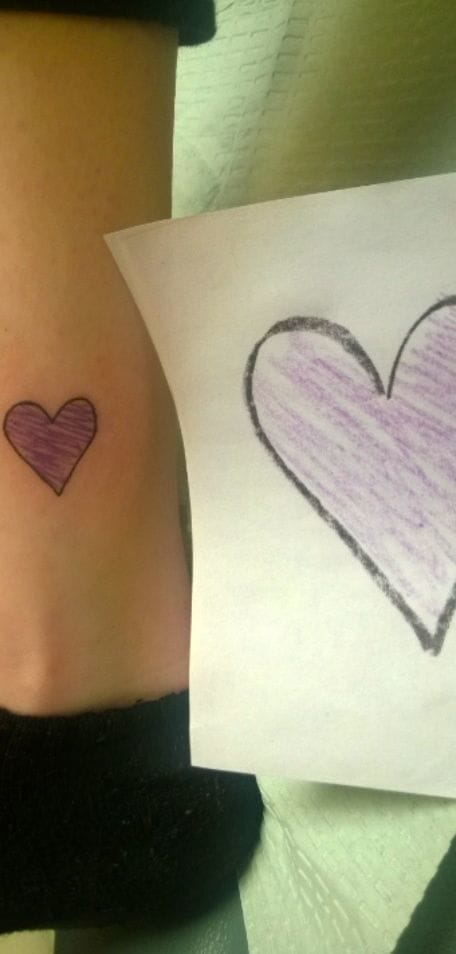 Scribble heart tattooed exactly like the original by Aaron at The Basement Ink.