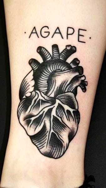 The greek word for unconditional love. Artist Nick Luit at Bushido Tattoo.