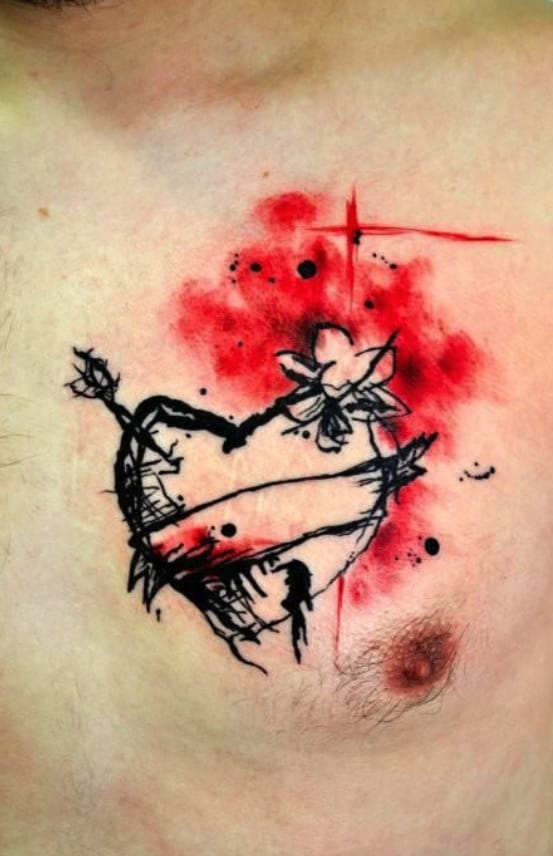 Nice black and red watercolor heart by Lukas Musil.