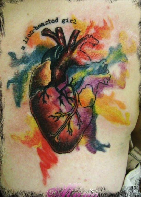"""""""A lion-hearted girl"""" watercolor anatomical by Mario Sinatras, New Zealand."""
