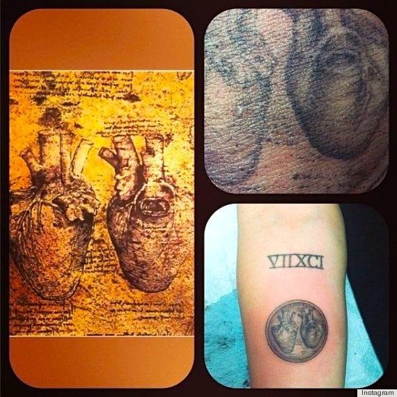 Miley Cyrus' Da Vinci heart tattooed by Kat Von D.