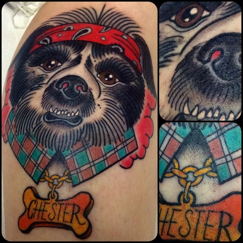chester dog, dog Tattoo by Stephania Cuervo