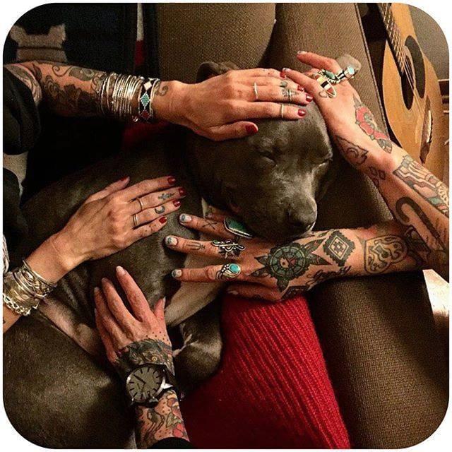 via @cobracult #tattoodobabes #tattoomodel #girlswithttattoos #puppy