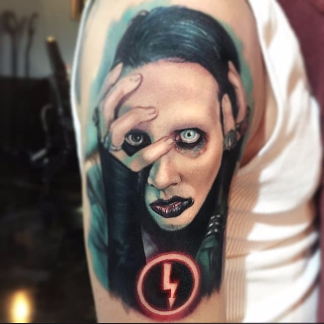 Marilyn Manson portrait by Paul Acker via @paulackertattoo #horror #realistic #portrait #MarilynManson