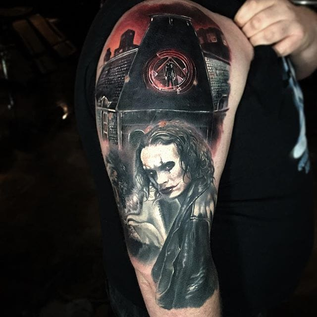 The Crow via @paulackertattoo #horror #realistic #portrait #TheCrow