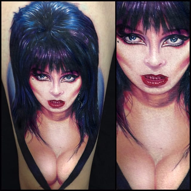 Elvira tattoo by Paul Acker via @paulackertattoo #horror #realistic #portrait #Elvira