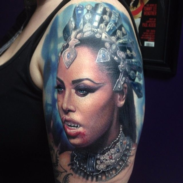 Aaliyah as Queen of the Damned via @paulackertattoo #horror #realistic #portrait #Aaliyah #QueenoftheDamned