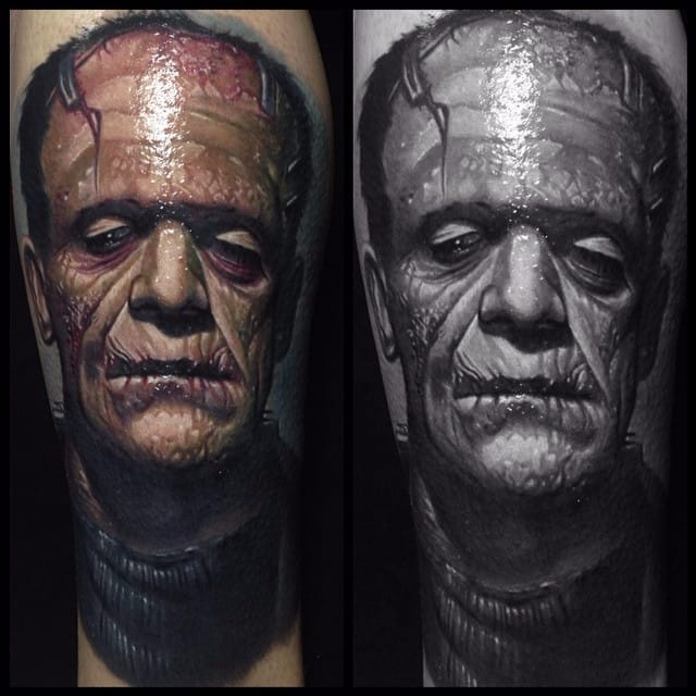 Frankenstein via @paulackertattoo #horror #realistic #monster #Frankenstein
