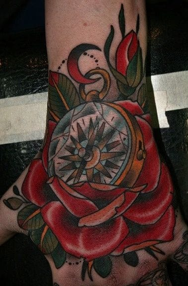 On the back of your hand. Compass tattoo by Stefan Johnsson. #compass #stefanjohnsson #rose