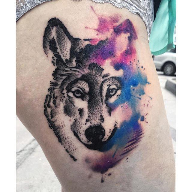 11 Stunning Watercolor Wolf Tattoos