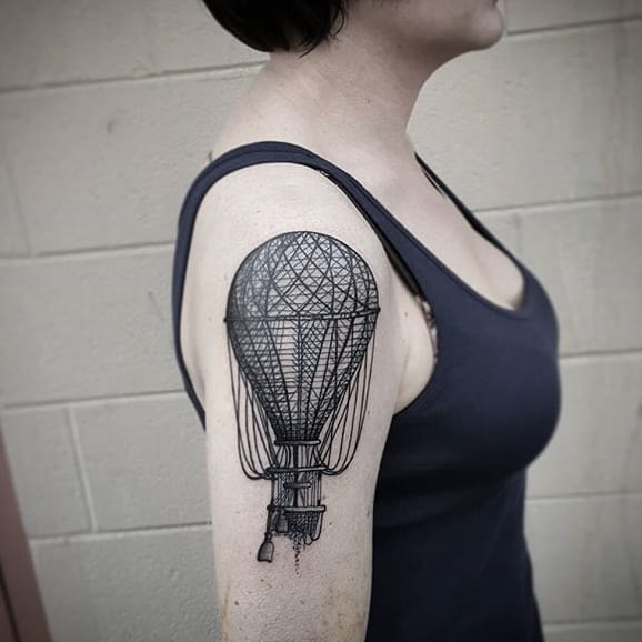 Take A Flight With These Blackwork Hot Air Balloon Tattoos!