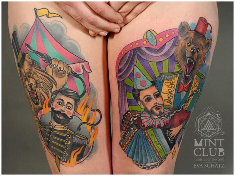 Amazing circus inspired thigh piece - such vivid color! Tattoo by Eva Schatz