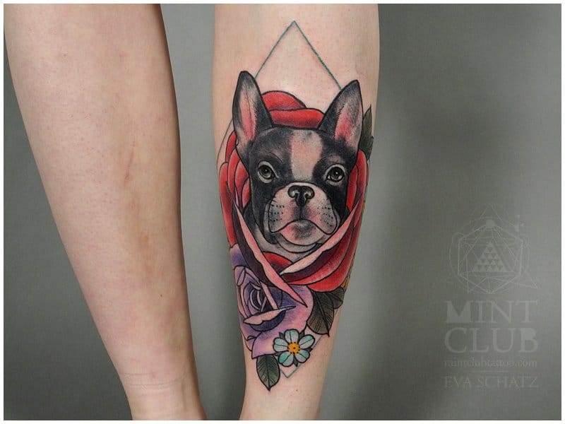 dog tattoo, tattoo by Eva Schatz
