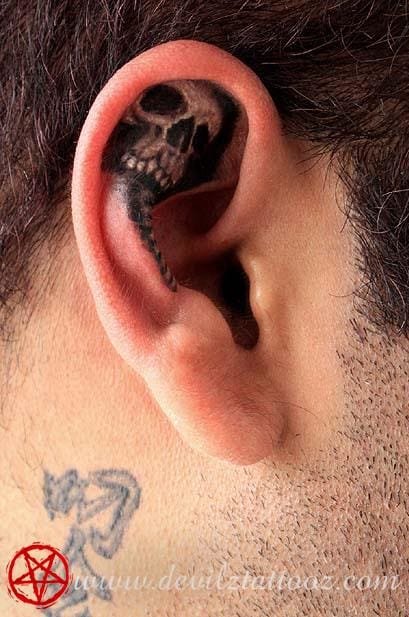 Another perfect example of how to create a skull using the shape of the ear