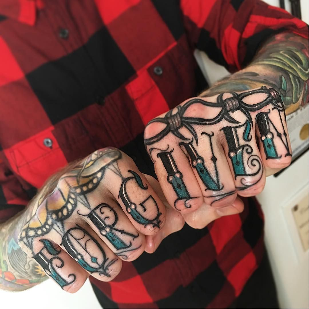 Strong and Badass Knuckle Tattoos
