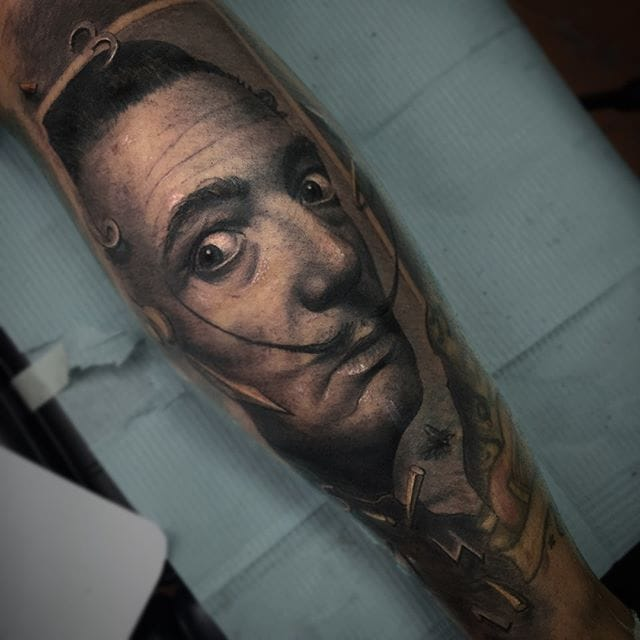 Realistic tattoo by Darwin Enriquez #darwinenriquez #blackandgrey #SalvadorDali #portrait #realism #sleeve #realistic via @darwinenriquez