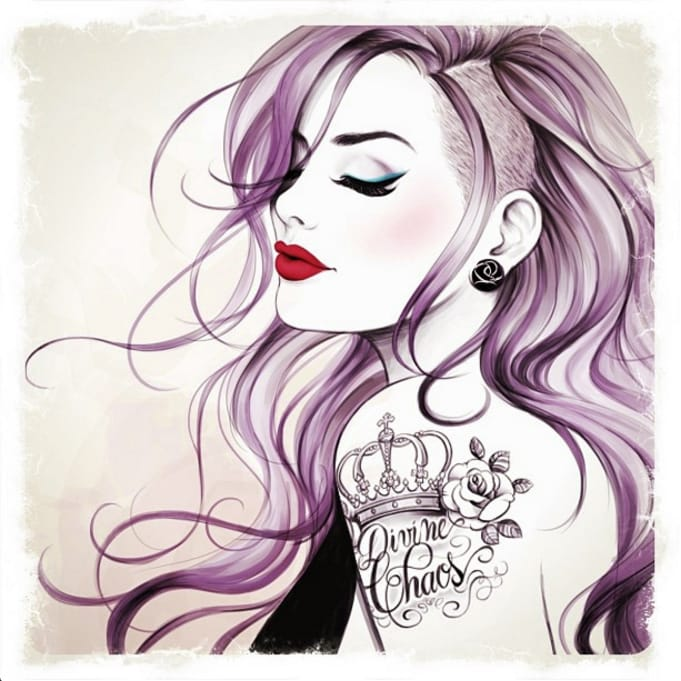 Illustrations Of Gorgeous Tattooed Ladies By Tati Ferrigno